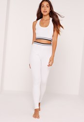 Missguided Ribbed Pyjama Set White White
