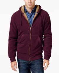 Weatherproof Vintage Men's Big And Tall Faux Sherpa Lined Hoodie Only At Macy's Red