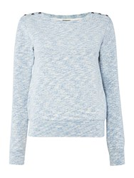 Armani Jeans Long Sleeve Jersey Sweat With Button Details Light Blue