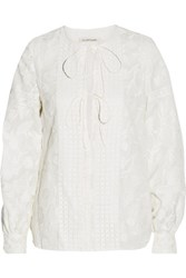 Jill Stuart Miranda Embroidered Silk Organza Top Off White