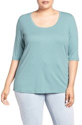 Sejour Plus Size Women's Elbow Sleeve Scoop Neck Tee White