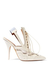 Givenchy Slingback Mules In Mesh Paneled White Leather