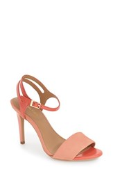 Calvin Klein Women's 'Nadina' Ankle Strap Sandal Salmon Deep Coral Leather