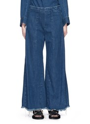 Chloe Acid Wash Frayed Denim Wide Leg Pants Blue
