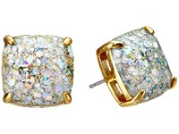 Kate Spade Small Square Studs Opal Glitter Earring Silver