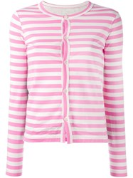Comme Des Garcons Striped Cardigan Pink Purple