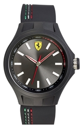 Scuderia Ferrari 'Pit Crew' Silicone Strap Watch 45Mm Black White