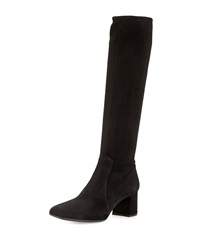 Prada Stretch Suede Knee Boot Nero