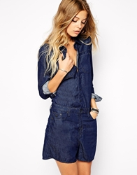 G Star Long Sleeved Denim Playsuit Rinsedblue