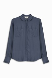 Paul And Joe Frill Crepe Shirt Blue