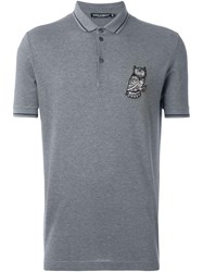 Dolce And Gabbana Owl Patch Polo Shirt Grey