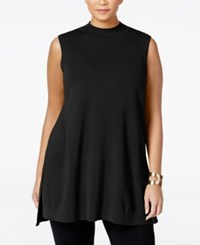 Alfani Plus Size Mock Neck Tunic Sweater Only At Macy's Deep Black