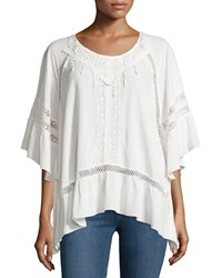 Cirana Lace Trim Half Sleeve Tunic Off White