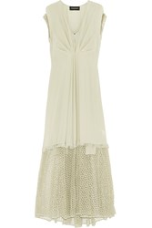 By Malene Birger Xoea Fringed Crochet Paneled Silk Crepe De Chine Maxi Dress Light Green
