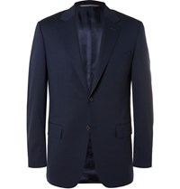 Canali Navy Valencia Slim Fit Stretch Wool Travel Suit Jacket Blue