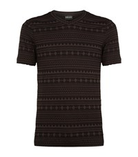 Giorgio Armani Aztec Woven Seersucker T Shirt Male Grey