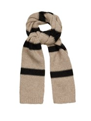 Brunello Cucinelli Striped Wool And Cashmere Blend Scarf Beige