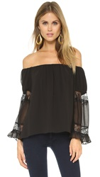 Tbags Los Angeles Ruffle Sleeve Blouse Misty Black