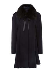 Therapy Fur Collar Swing Coat Navy