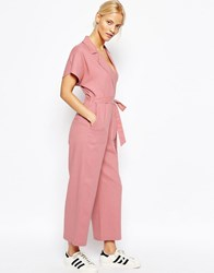 Asos Wrap Jumpsuit In Linen Cosmetic Pink