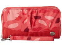 Haiku Zip Wallet Coral Feather Print Wallet Handbags Red