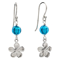 Martick Sterling Silver Forget Me Not Glass Earrings Turquoise