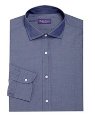Ralph Lauren Purple Label Solid Regular Fit Dress Shirt Navy