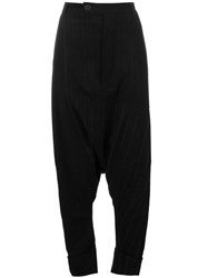 Pal Offner Pinstripe Drop Crotch Trousers Black