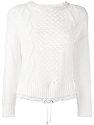Diesel Open Knit Drawstring Sweater White