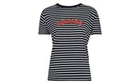 Whistles Amore Stripe Logo T Shirt Blue Multi