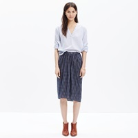 Madewell Plaid Midi Skirt