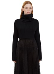 Valentino Cropped Roll Neck Ribbed Sweater Black