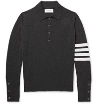 Thom Browne Striped Cashmere Polo Shirt Gray