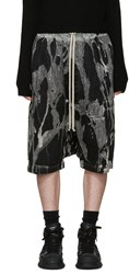 Rick Owens Black Bleached Denim Pod Shorts