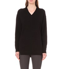 Joseph V Neck Merino Wool Jumper 010 Black