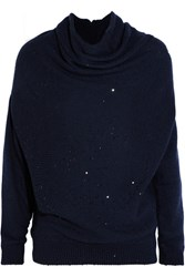 Brunello Cucinelli Draped Sequined Cashmere And Silk Blend Sweater Navy