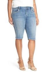 Plus Size Women's Lucky Brand 'Ginger' Embroidered Stretch Denim Bermuda Shorts Riverdale