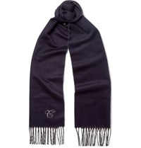 Canali Double Faced Silk And Cashmere Blend Scarf Midnight Blue