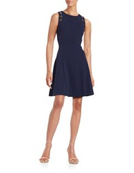 Ivanka Trump Embellished Fit And Flare Dress Evening Navy