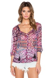 Gypsy 05 3 4 Sleeve Peasant Blouse Pink
