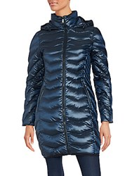 Saks Fifth Avenue Mockneck Long Sleeve Puffer Jacket Sapphire