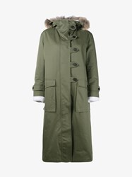 Valentino Shearling Lined And Fox Fur Trimmed Parka Coat Khaki Cream