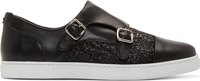 Dsquared Black Textured Leather Monk Strap Slip Ons