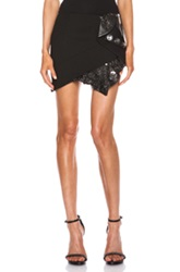 Anthony Vaccarello Buttoned Leather Ruffle Skirt In Black Animal Print Metallics