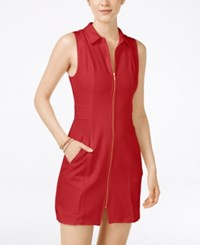 Xoxo Juniors' Zipper Front Sleeveless Sheath Dress Red