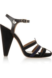 Sonia Rykiel Embellished Leather And Suede Sandals Black