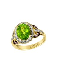 Le Vian Peridot Chocolate Diamond Vanilla Diamond And 14K Yellow Gold Ring Green