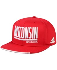 Adidas Wisconsin Badgers Travel Flat Brim Snapback Cap