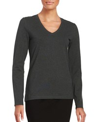 Lord And Taylor V Neck Tee Graphite Heather