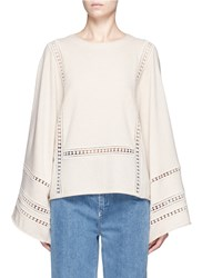 Chloe Dot Embroidery Wool Cashmere Sweater Neutral